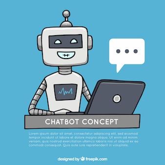 Fond de concept de chatbot avec un robot heureux