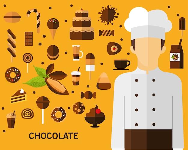 Fond de concept de chocolat. icônes plates