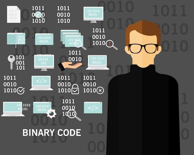 Fond de concept de code binaire