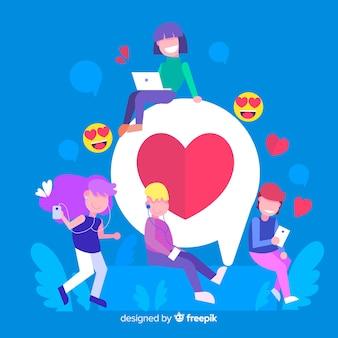 Fond de concept de coeur dessiné jeunes médias sociaux de la main