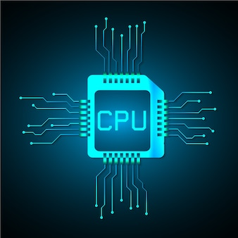 Fond de concept cpu technologie de circuit futur