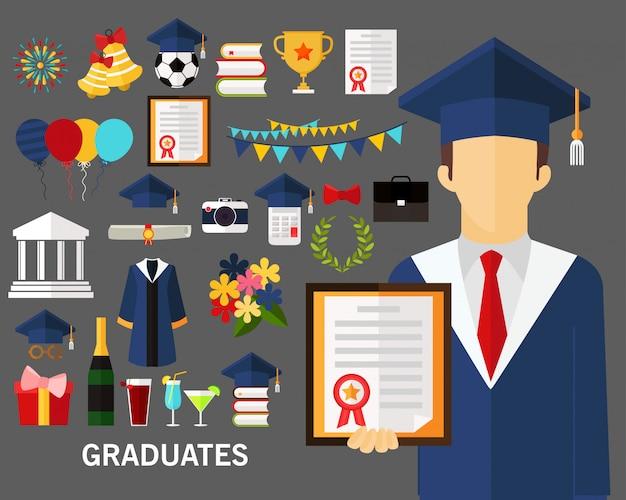 Fond de concept de diplômés.