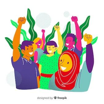 Fond de concept de diversité dessinés à la main