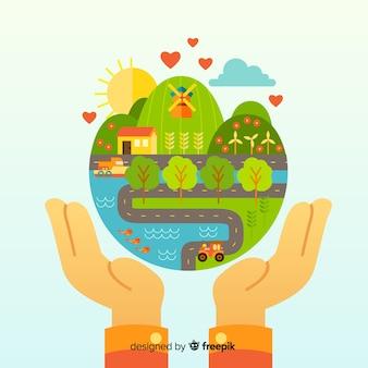 Fond avec concept d'écologie et de recyclage