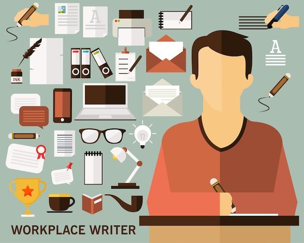 Fond de concept écrivain en milieu de travail. icônes plates
