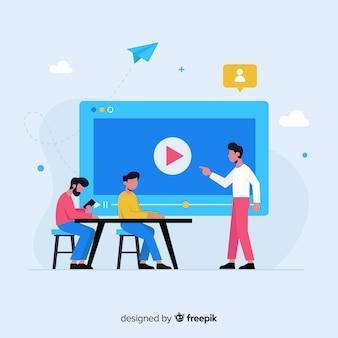 Fond de concept d'éducation en ligne plat