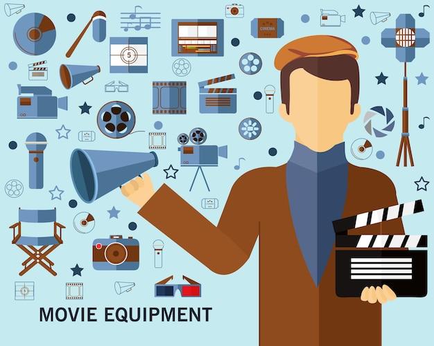 Fond de concept d'équipement de film