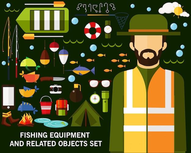 Fond de concept d'équipement de pêche