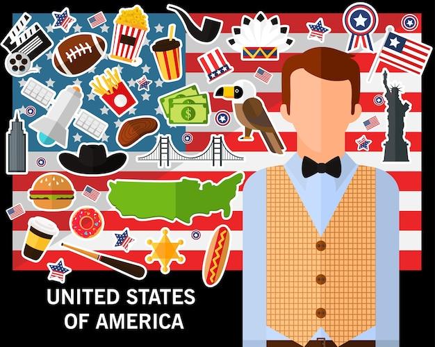 Fond de concept des états-unis d'amérique. icônes à plat