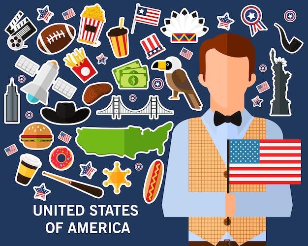 Fond de concept états-unis d'amérique. icônes de plats