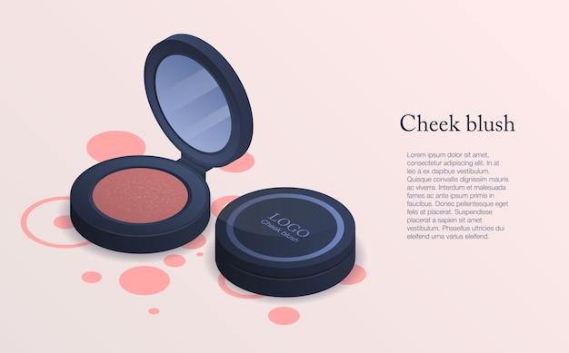 Fond de concept fard à joues. illustration isométrique de fond de concept vecteur blush joue pour la conception web