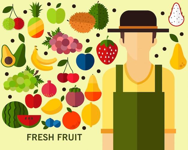 Fond de concept de fruits frais