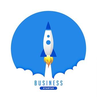 Fond de concept de fusée d'affaires volant