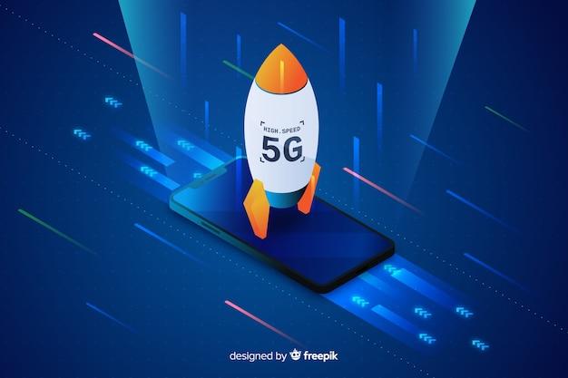 Fond de concept de fusée isométrique 5g