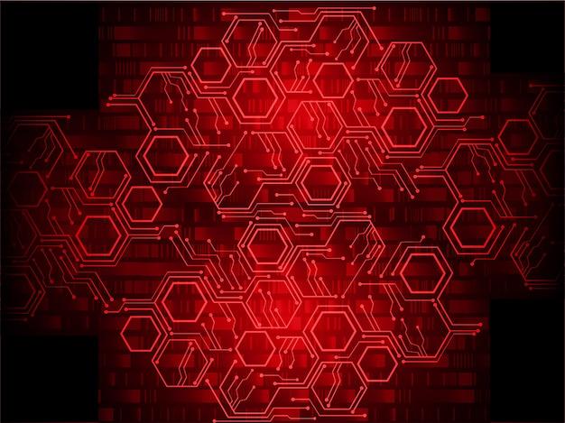Fond de concept futur technologie cybercircuit rouge