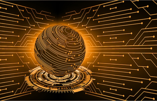 Fond de concept futur technologie monde orange cyber circuit