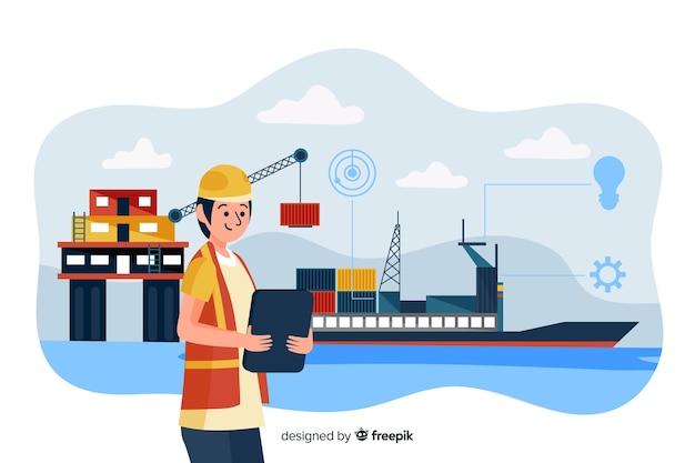 Fond de concept de génie maritime plat