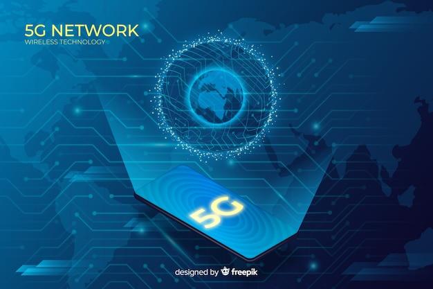 Fond de concept globe 5g avec design isométrique