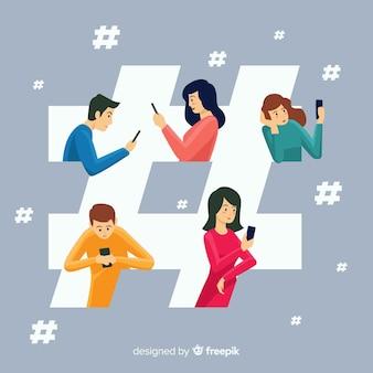 Fond de concept de hashtag de jeunes