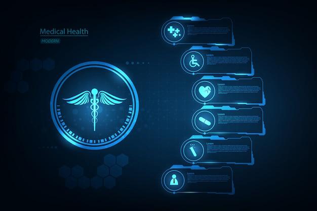 Fond de concept d'innovation science santé médicale