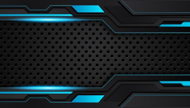 Fond de concept innovation tech design métallique abstrait bleu et noir.