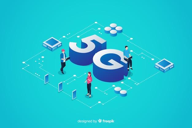 Fond de concept isométrique 5g avec caractères