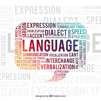 Fond de concept de mot de langue