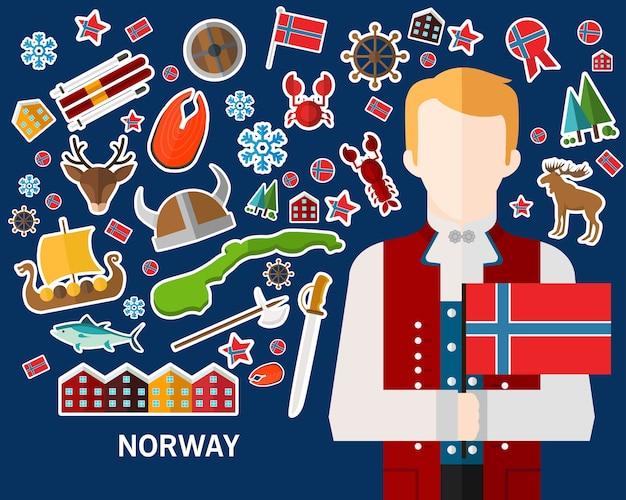 Fond de concept de norvège. icônes de plat