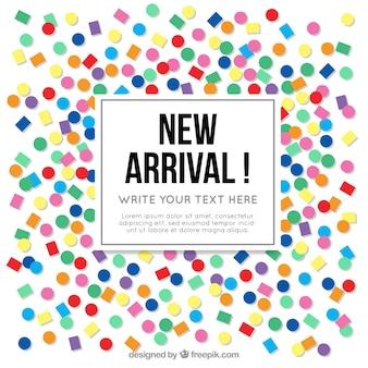 Fond de concept nouvelle arrivée avec des confettis