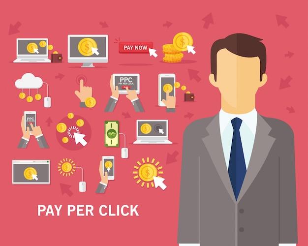 Fond de concept de paiement par clic
