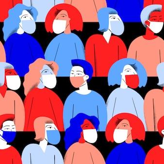 Fond de concept de pandémie. modèle sans couture d'épidémie de coronavirus. personnes en masque médical.