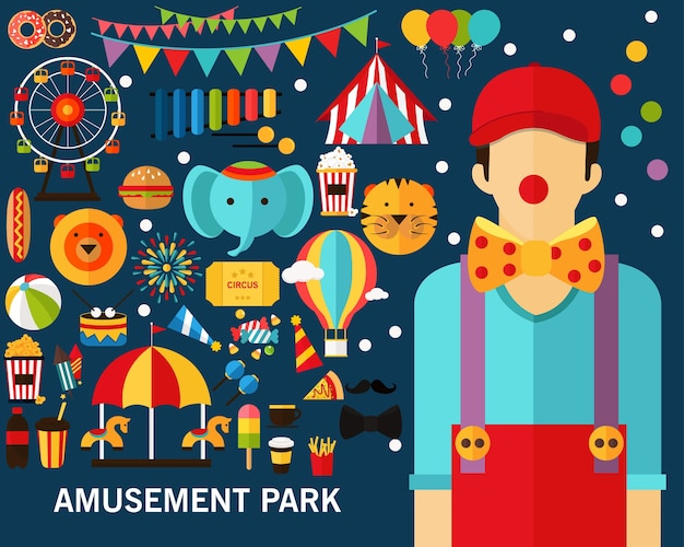 Fond de concept de parc d'attractions.
