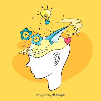 Fond de concept de pensée dessinés à la main