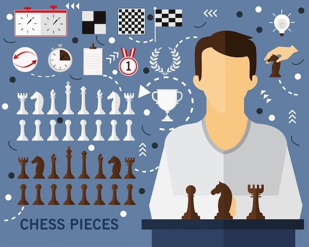 Fond de concept de pièces d'échecs