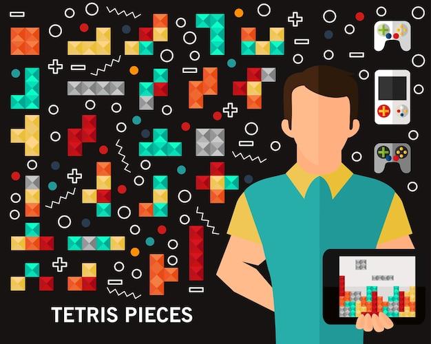 Fond de concept de pièces tetris