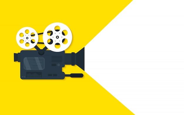 Fond de concept plat de temps de film. conception de bannière de cinéma