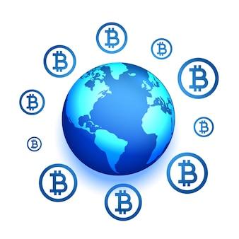 Fond de concept de présence de réseau bitcoin global avec la terre