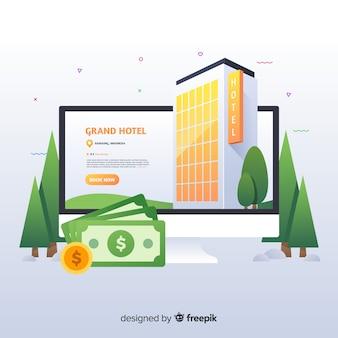 Fond de concept de réservation hôtel plat