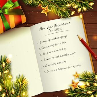 Fond de concept de résolutions du nouvel an 2022 avec ordinateur portable