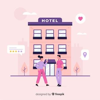 Fond de concept de révision hôtel plat