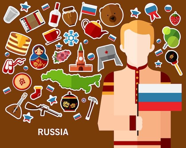 Fond de concept de russie. icônes plates