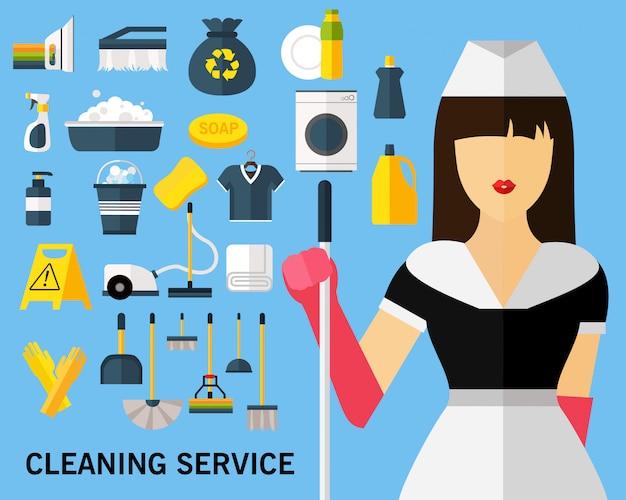 Fond de concept de service de nettoyage. icônes plates