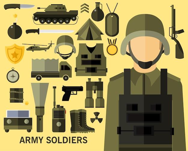 Fond de concept de soldats de l'armée.
