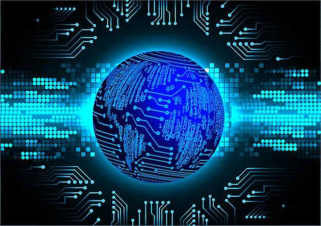 Fond de concept de technologie future de circuit bleu cyber monde