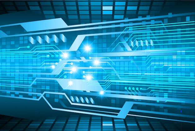 Fond de concept de technologie future cyber-circuit bleu