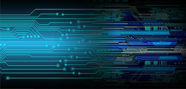 Fond De Concept De Technologie Future Cyber Circuit Bleu Vecteur Premium