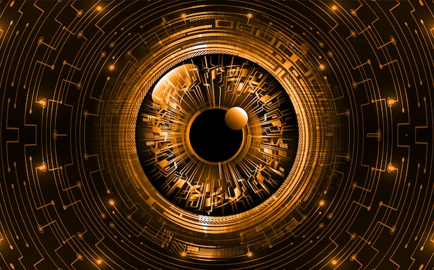 Fond De Concept De Technologie Future Cyber Circuit Oeil Orange Vecteur Premium