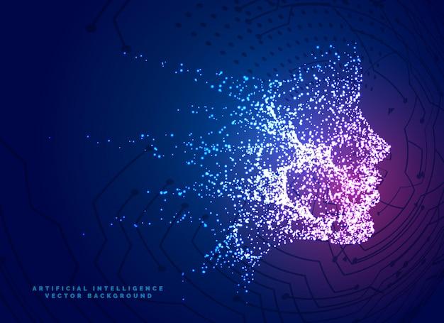 Fond de concept de technologie de particules numérique visage