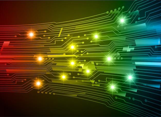 Fond de concept technologique futur bleu cyber circuit jaune rouge