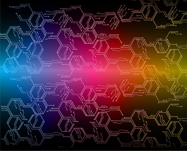 Fond de concept technologique futur bleu cyber hexagone rose